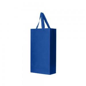"Blue Kraft Paper Bags with Cotton Twill Handle Shopping Bags 18 cm x 35 cm x 9.5 cm (7"" x 13.75"" x 3.75"") (100 Bags/Lot)"