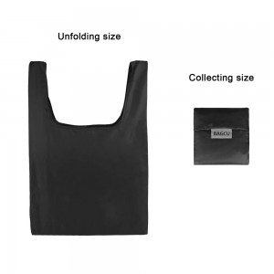 "Black Reusable Nylon Foldable Shopping Grocery Bags 33 cm x 55 cm (13"" x 21.5"") (200 Bags/Lot)"