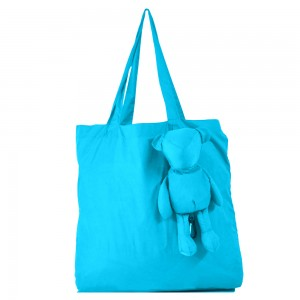 """Blue Reusable Non-Woven Foldable Shopping Grocery Bags with Attached Clip 42 cm x 38 cm (16.5"""" x 14.75"""") (60 Bags/Lot)"""