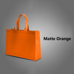 "Orange Reusable Non-Woven Flat Bottom Gusset Shopping Tote Bags 40 cm x 30 cm x 10 cm (15.5"" x 11.75"" x 3.75"") (200 Bags/Lot)"