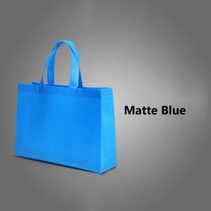 "Blue Reusable Non-Woven Flat Bottom Gusset Shopping Tote Bags 40 cm x 30 cm x 10 cm (15.5"" x 11.75"" x 3.75"") (200 Bags/Lot)"