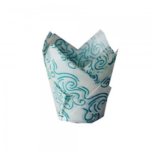 Blue Wave on White Natural Tulip Paper Liners for Your Muffins/Cupcakes Tin Treat Cups 1300 Pieces/Lot
