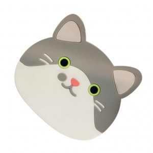 Reusable Gray Ears Cat Trivet Insulated Silicone Cup Coasters Mat (9 x 10.5 cm) 100 Pieces/Lot
