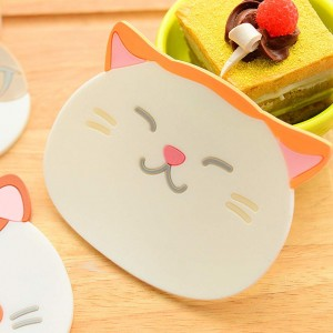 Reusable Orange Ears Cat Trivet Insulated Silicone Cup Coasters Mat (9 x 10.5 cm) 100 Pieces/Lot