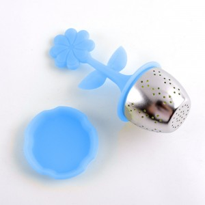 Blue Silica Gel & Stainless Steel Flower Infuser for Loose Leaf Tea with Drip Tray 100 Pieces/Lot