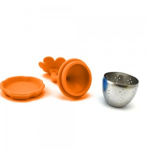 Orange Silica Gel & Stainless Steel Flower Infuser for Loose Leaf Tea with Drip Tray 100 Pieces/Lot