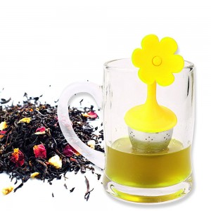 Yellow Silica Gel & Stainless Steel Flower Infuser for Loose Leaf Tea with Drip Tray 100 Pieces/Lot