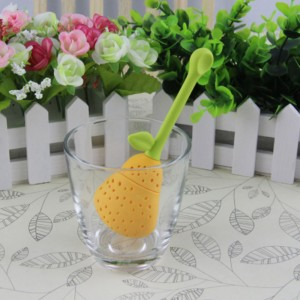 Yellow Food Safe Silicone Pear Infuser for Loose Leaf Tea with Long Stem 200 Pieces/Lot