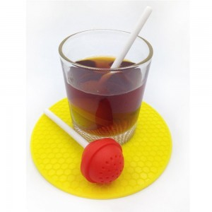 Red Food Grade Silicone Lollipop Infuser for Loose Leaf Tea with Long Stem 200 Pieces/Lot