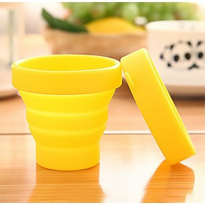 Yellow Silica Gel Collapsible Cups for Loose Leaf Tea 100 Pieces/Lot