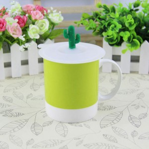 Green Silica Gel Cactus Lid Reusable Anti-dust Airtight Drink Cup Mug Covers 100 Pieces/Lot