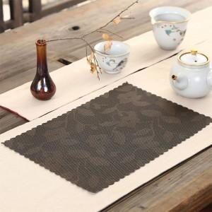 "Brown Plastic Floral Placement Mats Heat-Resistant for Tea Sets in 16.5"" x 7.25"" 100 Pieces/Lot"