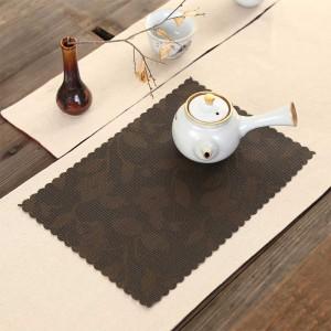 "Brown Plastic Floral Placement Mats Heat-Resistant for Tea Sets in 15.25"" x 11""(100 Pieces/Lot)"