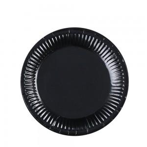 """7"""" Black Disposable 300g Paper Party Plates(1000pcs Plates/Lot)"""