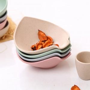 Green&Pink&Blue&Beige Bamboo Triangle Leaf Chip and Dip Bowl Platter Set(100 Sets/Lot)