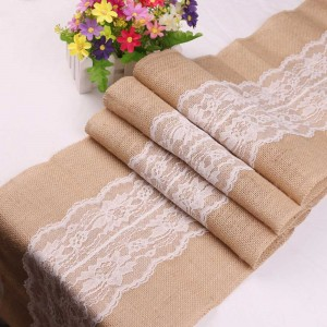 "11.75"" x 108.25"" Jute White Lace Rectangular Table Runner (40pcs Covers/Lot)"