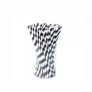 Paper Decorative Party Straw with Black Stripes (1750 Straws/Lot)