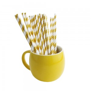 Paper Decorative Party Straw with Gold Stripes (1750 Straws/Lot)