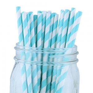 Paper Decorative Party Straw with Blue Stripes (1750 Straws/Lot)