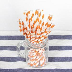 Paper Decorative Party Straw with Orange Stripes (1750 Straws/Lot)