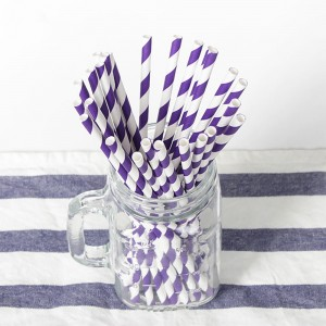 Paper Decorative Party Straw with Purple Stripes (1750 Straws/Lot)