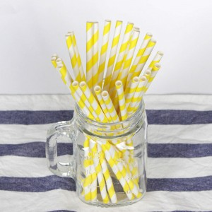 Paper Decorative Party Straw with Yellow Stripes (1750 Straws/Lot)
