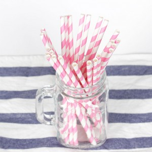 Paper Decorative Party Straw with Pink Stripes (1750 Straws/Lot)