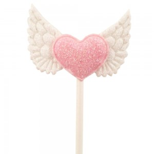 Pink Heart with White Wing Non Woven & Paper Decorative Food Picks(1200 Picks/Lot)