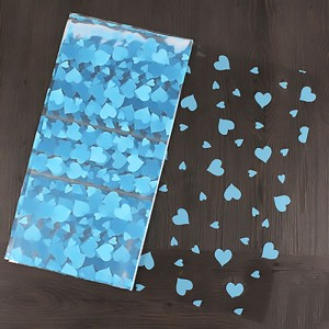 Glossy Blue Plastic Heart Patterned Sheets for Crafts, Gifts and Baskets 56 cm x 54 cm (22 inches x 21.25 inches) (400 Sheets/Lot)