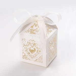 Shimmery White Cardstock Heart Lace Laser Cut DIY Flat Boxes for Weddings 5 cm x 5 cm x 8 cm (1.75 inches x 1.75 inches x 3 inches) [300 Boxes/Lot]