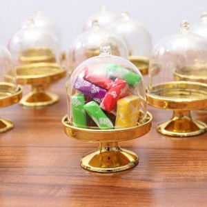 """Gold Plastic Mini Cake Stand Packaging Boxes for Wedding Favors [3""""x1.25""""] [200 Boxes/Lot]"""