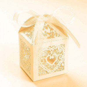 Shimmery Gold Cardstock Heart Lace Laser Cut DIY Flat Boxes for Weddings 5 cm x 5 cm x 8 cm (1.75 inches x 1.75 inches x 3 inches) [300 Boxes/Lot]