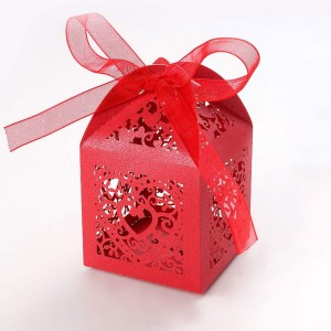 Shimmery Red Cardstock Heart Lace Laser Cut DIY Flat Boxes for Weddings 5 cm x 5 cm x 8 cm (1.75 inches x 1.75 inches x 3 inches) [300 Boxes/Lot]