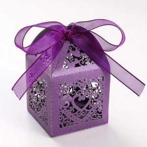 Shimmery Purple Cardstock Heart Lace Laser Cut DIY Flat Boxes for Weddings 5 cm x 5 cm x 8 cm (1.75 inches x 1.75 inches x 3 inches) [300 Boxes/Lot]