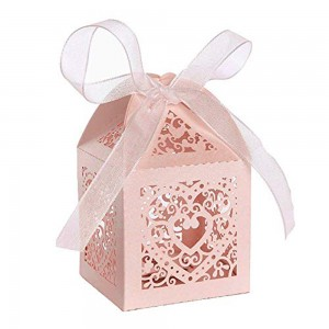 Shimmery Pink Cardstock Heart Lace Laser Cut DIY Flat Boxes for Weddings 5 cm x 5 cm x 8 cm (1.75 inches x 1.75 inches x 3 inches) [300 Boxes/Lot]