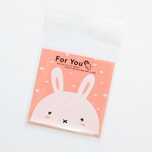 Bunny Printed Self Adhesive Cookie Bags 7 cm x 7 cm (2.75 inches x 2.75 inches) [3200 Bags/Lot]