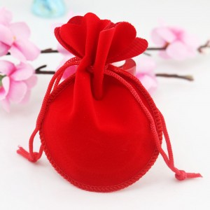 """Flannelette Fabric Red Favor Bags with Drawstring 6.5 cm x 7.5 cm (2.5"""" x 2.75"""") [1900 BAGS/LOT]"""