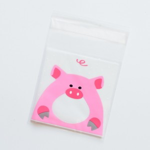 Pink Pig Self Adhesive Bakery Treats Packaging Bag 7 cm x 7 cm (2.75 inches x 2.75 inches) [3200 Bags/Lot]