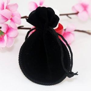 "Flannelette Fabric Black Favor Bags with Drawstring 8 cm x 10 cm (3"" x 3.75"") [1000 BAGS/LOT]"