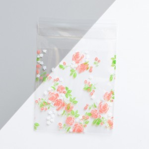 Pink Flowers Self Adhesive Bakery Treats Packaging Bag 7 cm x 7 cm (2.75 inches x 2.75 inches) [3200 Bags/Lot]