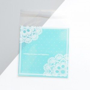 Mini Marshmallow Treat Bags with Blue Lace Print 10 cm x 10 cm (3.75 inches x 3.75 inches) [2000 Bags/Lot]