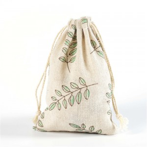 Leaf Printed Brown Linen Pouches for Weddings, Birthdays and Parties Favors 10 cm x 14 cm (3.7 inches x 5.5 inches) [600 Bags/Lot]