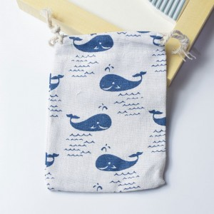 Blue Whales Printed Brown Linen Pouches for Weddings, Birthdays and Parties Favors 10 cm x 14 cm (3.7 inches x 5.5 inches) [600 Bags/Lot]