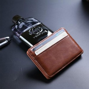 Brown Leather Slim Minimalistic Magic Slim Wallet (80pcs/lot)