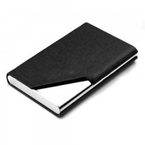 Black Leather Covered Stainless Steel Card Holder with Magnetic Closure (100pcs/lot)
