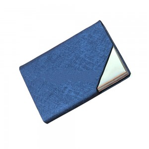 Blue Leather Covered Stainless Steel Card Holder with Magnetic Closure (100pcs/lot)