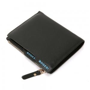 Bogesi Black Leather Bi-Fold Men's High Capacity Billfold Wallet (70pcs/lot)