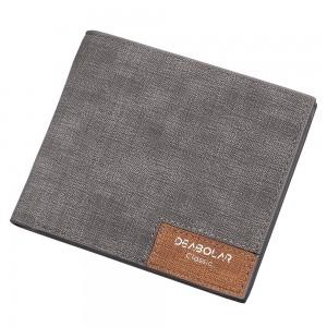 Vintage Korean Style Gray PU Leather Super Slim Billfold Wallet (80pcs/lot)