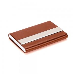 Slim Brown Metallic Card Holder Wallet with Magnetic Flip Top (80/lot)