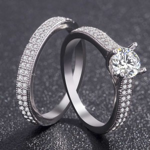 Silver Rhinestone Rings for Couples 6(US) - 100/Lot